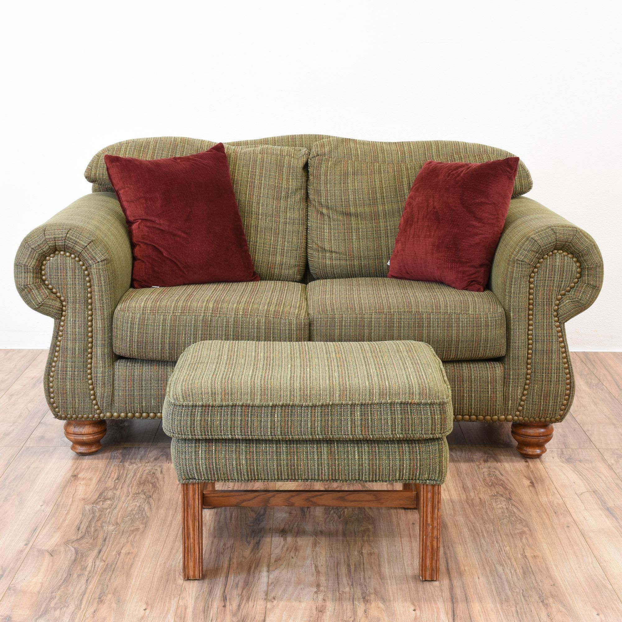 green floral sofa memory foam topper for queen sleeper this loveseat and ottoman are upholstered in a durable