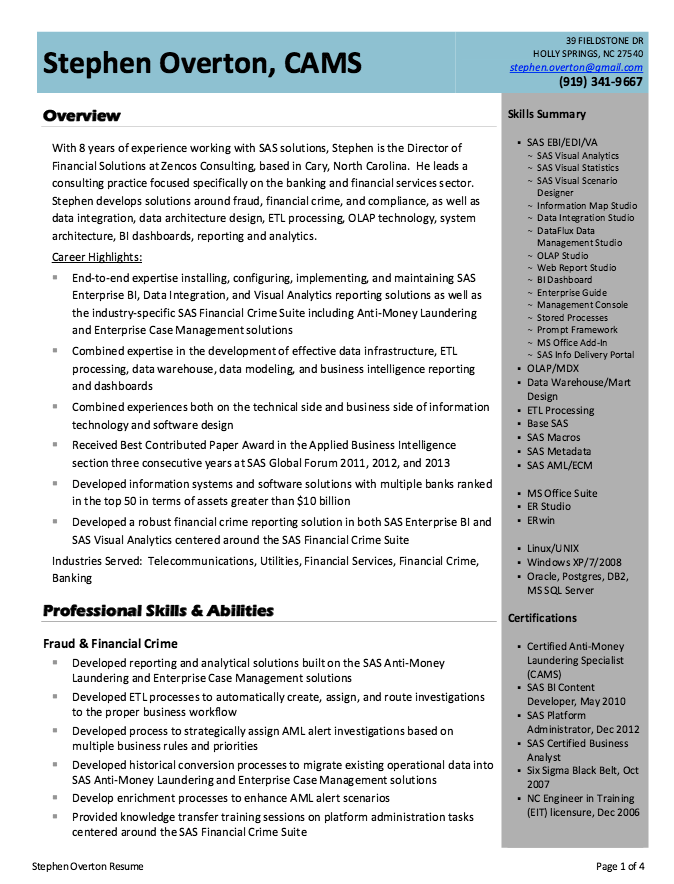 Business Intelligence Analyst Resume Example