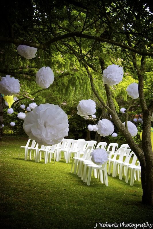 Floating Pompom Decorations Garden Wedding Wedding Photography