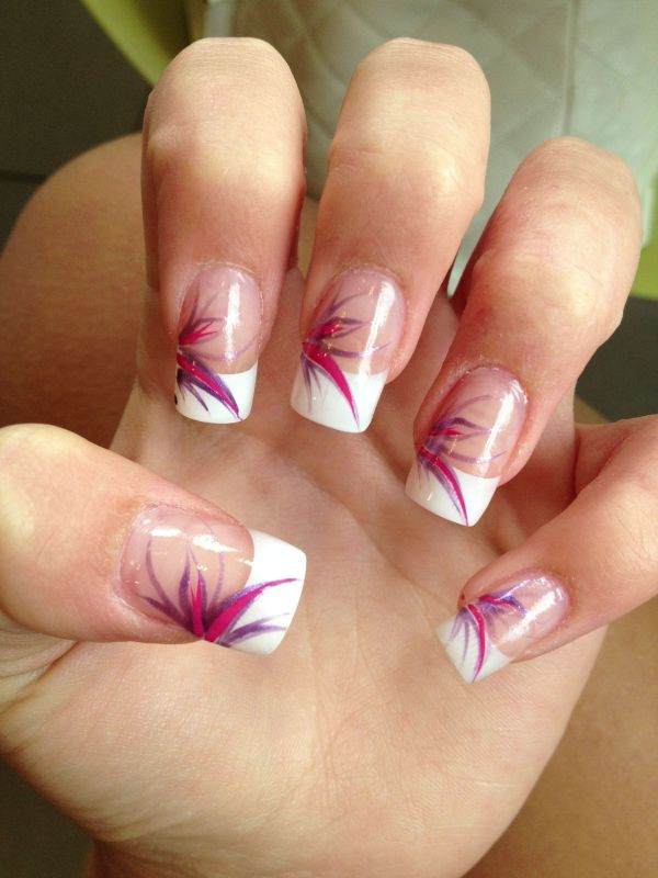 Acrylic French manicure with nail art design Wedding