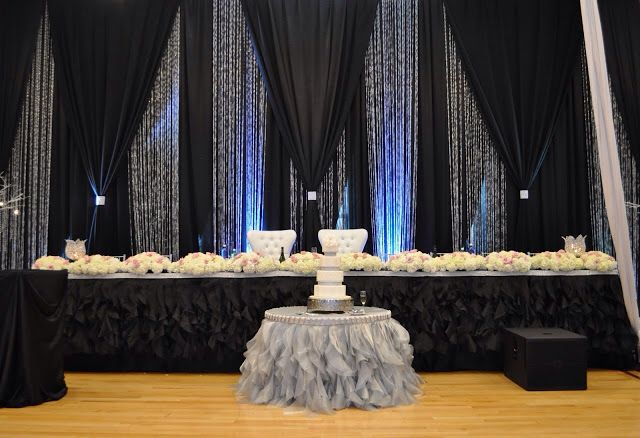 chair covers cheap rental fisher price space saver high black, silver and crystal backdrop   lighting & draping pinterest backdrops, crystals ...