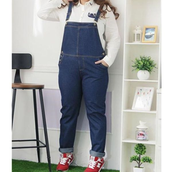Plus Size Denim Overall Jumper