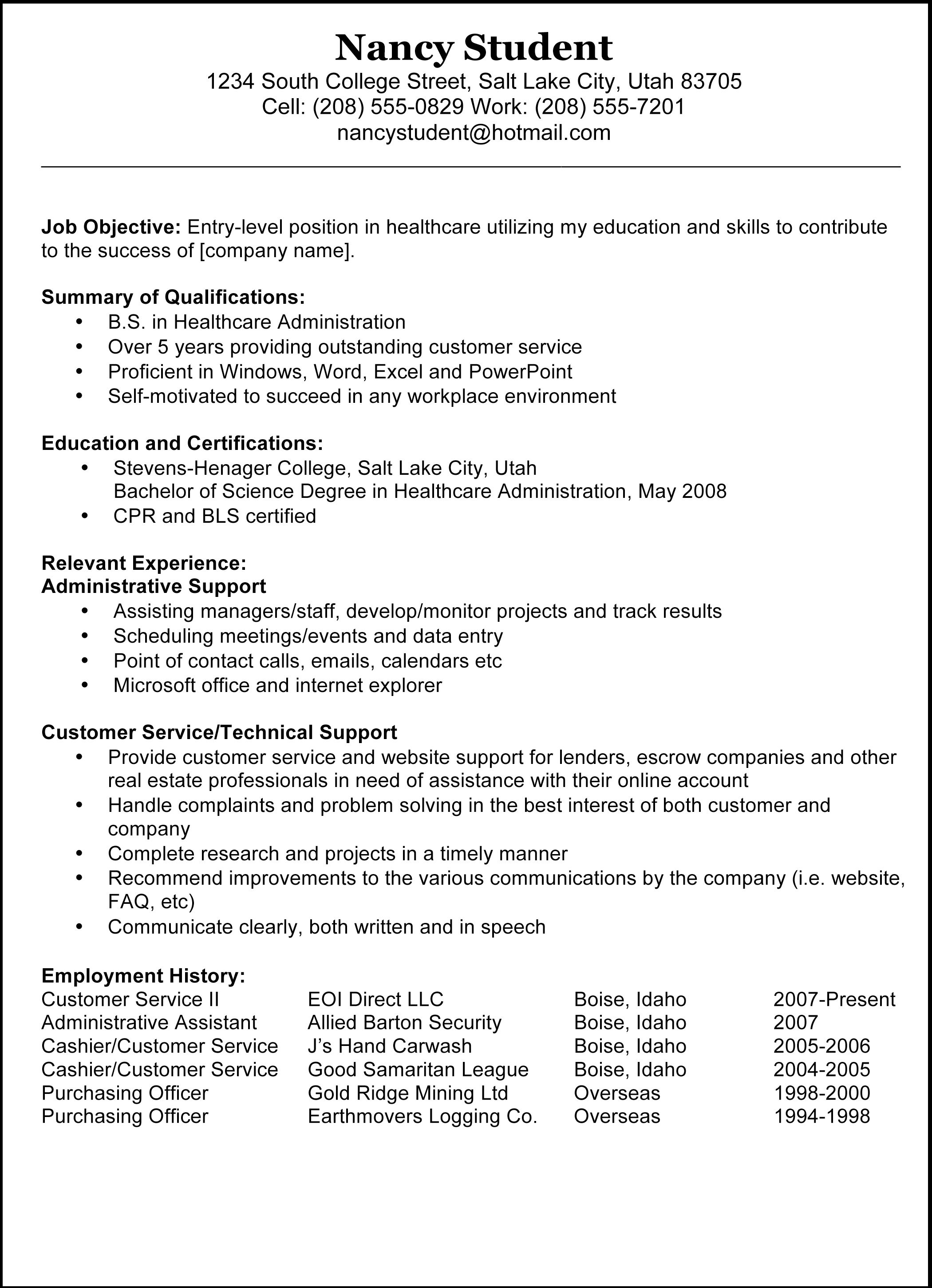 Example Of Sample Resume Examples Of Resumes