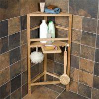 Freestanding Teak Corner Shower Shelf with Removable Soap ...
