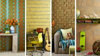 Accent wall ideas- copper flashing (1), 4x4's cut, stained ...
