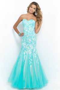 Blush 10013 Pool Nude Floral Embroidery Mermaid Long Prom ...