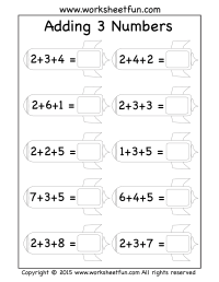 Adding Three Numbers Kindergarten Worksheets. Adding. Best ...