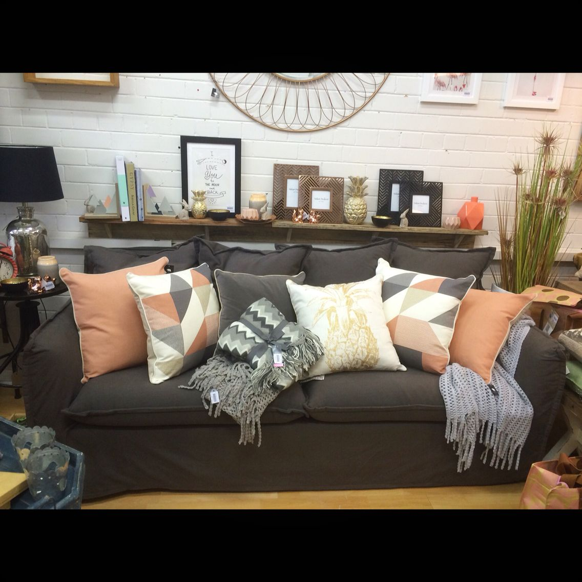 Our Amazing New Couch On Display With Coral Gold Copper