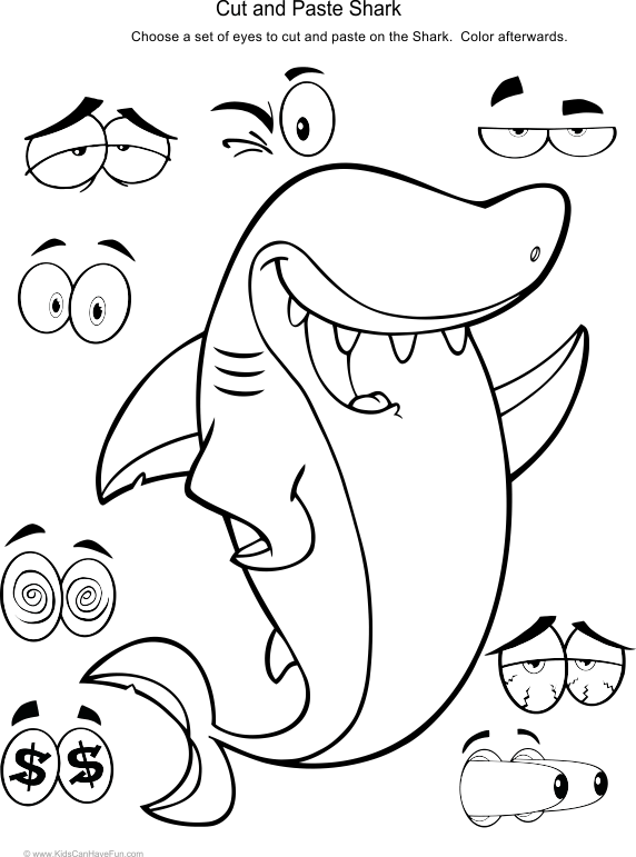 Cut and Paste Shark Activity. Kids cut out eyes to paste