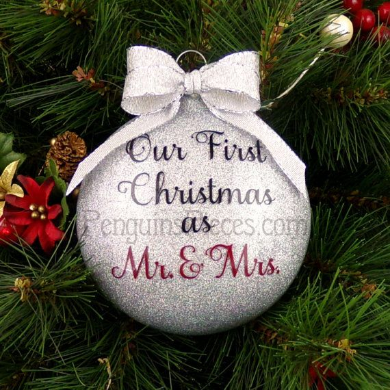 Personalized Our First Christmas Married Glitter Ornament  Glass  2 Sided  1st Mr  Mrs