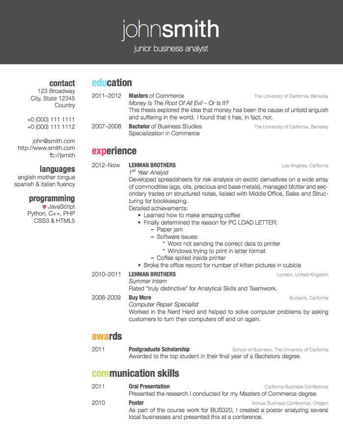 LaTeX Templates Curricula Vitae Résumés Design Obviously
