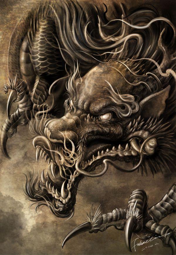 Dragon Artwork Hailin Fu . Instagram