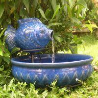 Smart Solar Ceramic Fish Outdoor Fountain - Outdoor Living ...