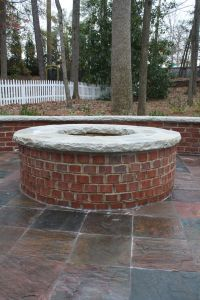 Red Brick Firepit with Stone Cap