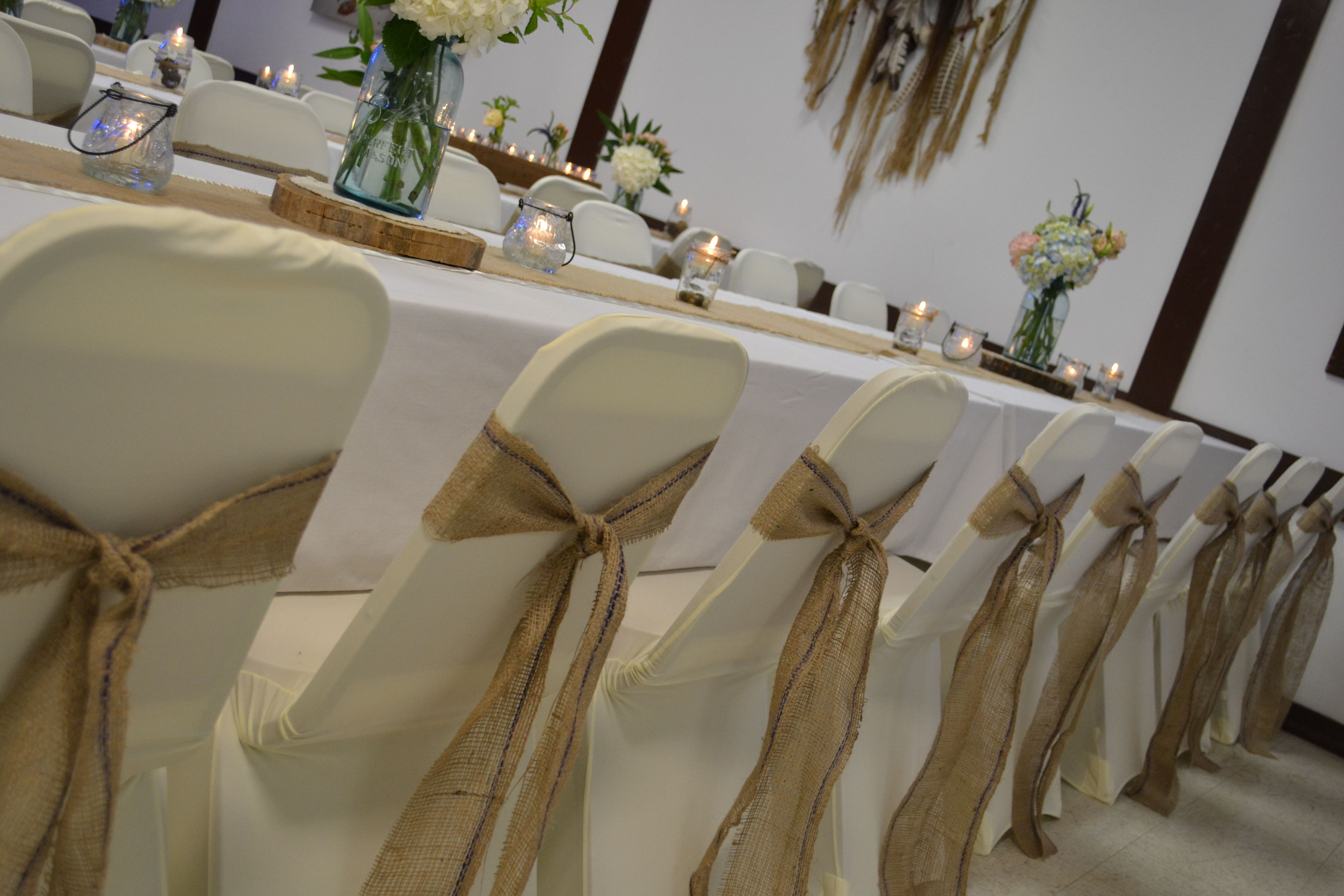 burlap chair covers wedding glider cushions sashes rustic weddings pinterest