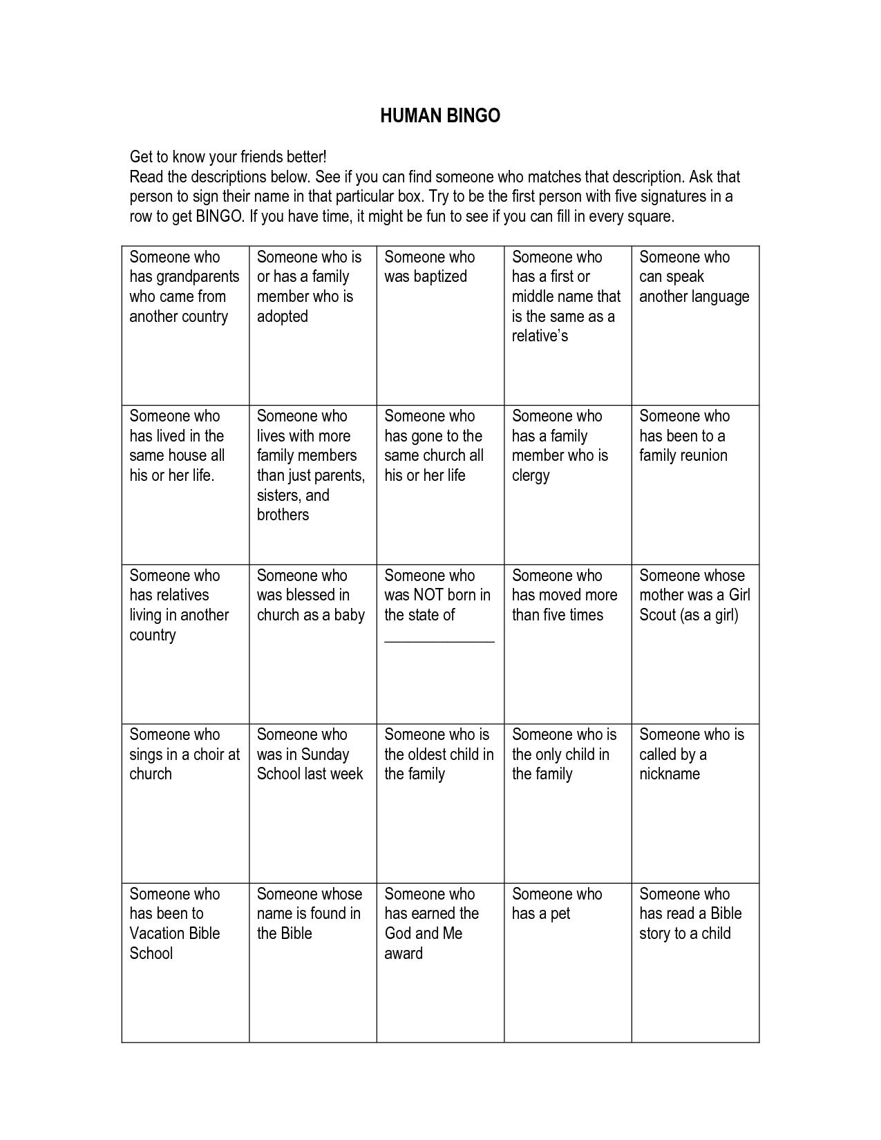 Human Bingo Get To Know Your Friends Better Read The Descriptions Cakepins