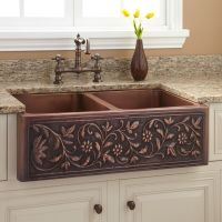 "36"" Vine Design Double-Bowl Copper Farmhouse Sink 