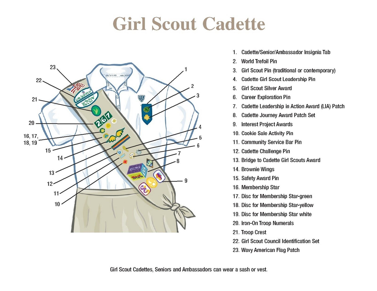 Girl Scout Cadette Sash Layout
