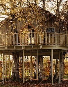 Creative tree house idea home and garden design ideas also  step up treehouses pinterest houses cabin rh