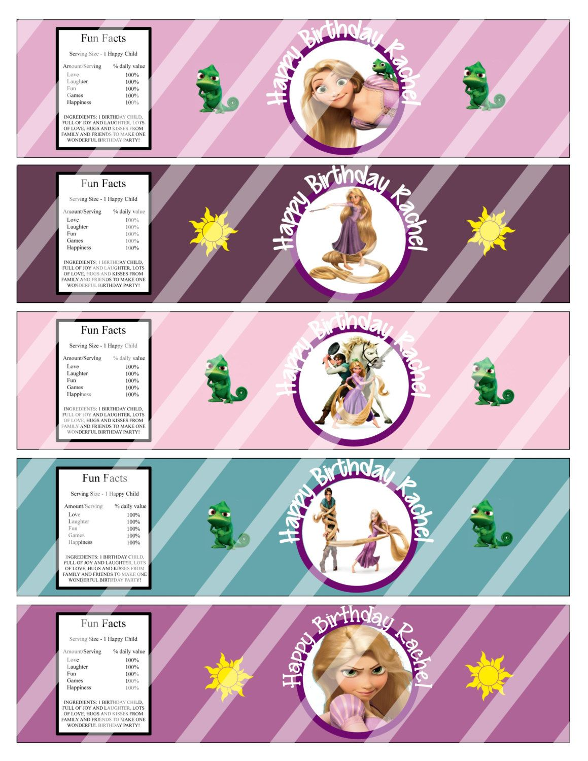 Disney Tangled Princess Rapunzel Water Bottle Wrappers Labels Birthday Party Custom Printables