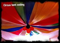 Circus tent ceiling for birthday party. Made from vinyl ...