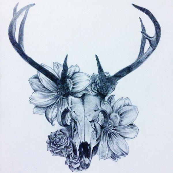 Deer Skull with Flowers Tattoo