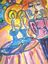 Lighting Shabbat Candles, Jewish Woman, Judaica Art ...