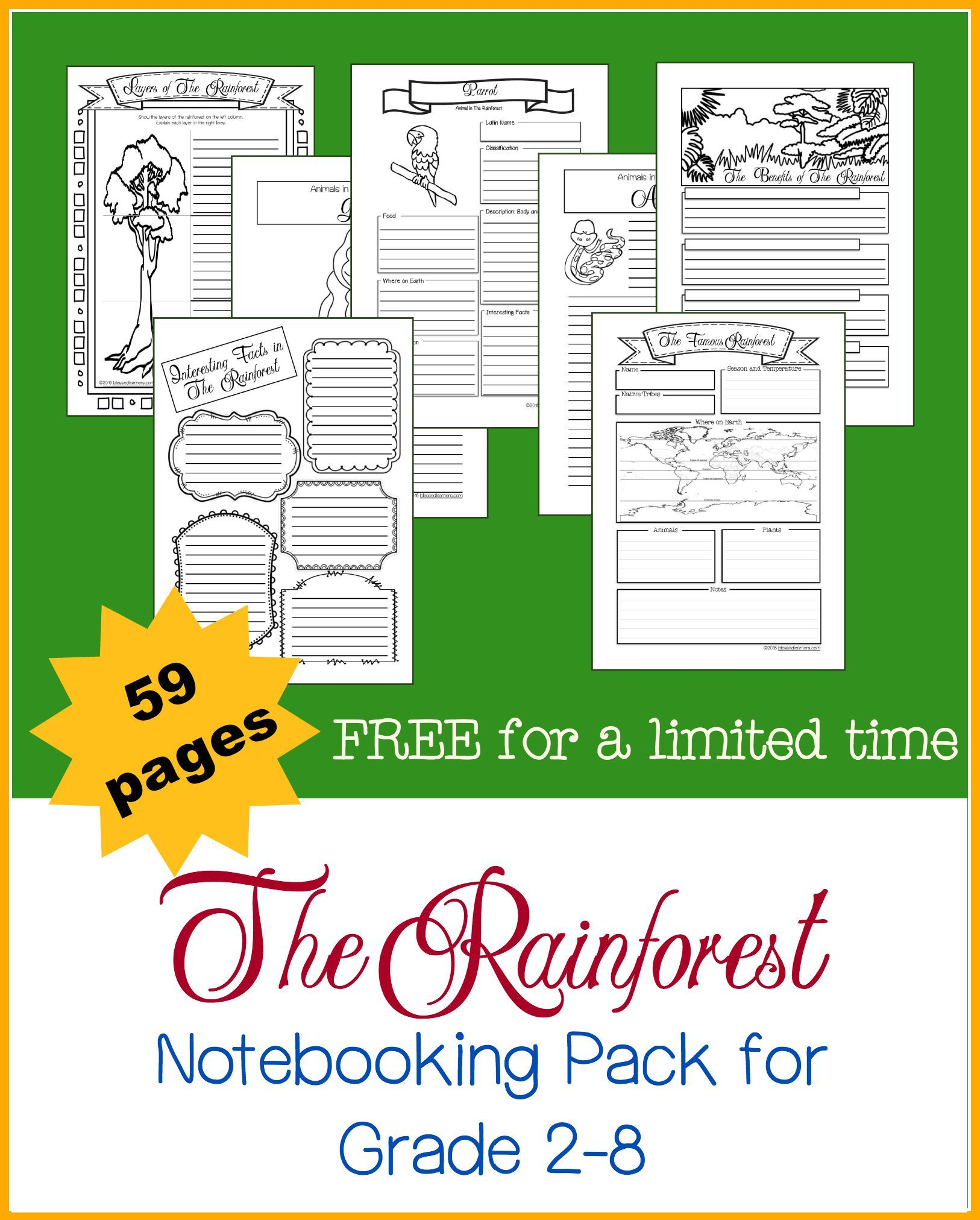 Limited Free Printables Rainforest Unit Study Resources