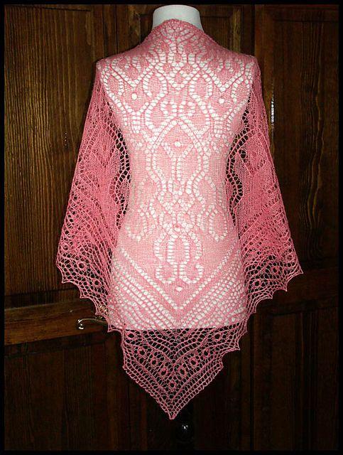 """Fancy Fulness"" knit lace shawl in wool/silk lace weight"