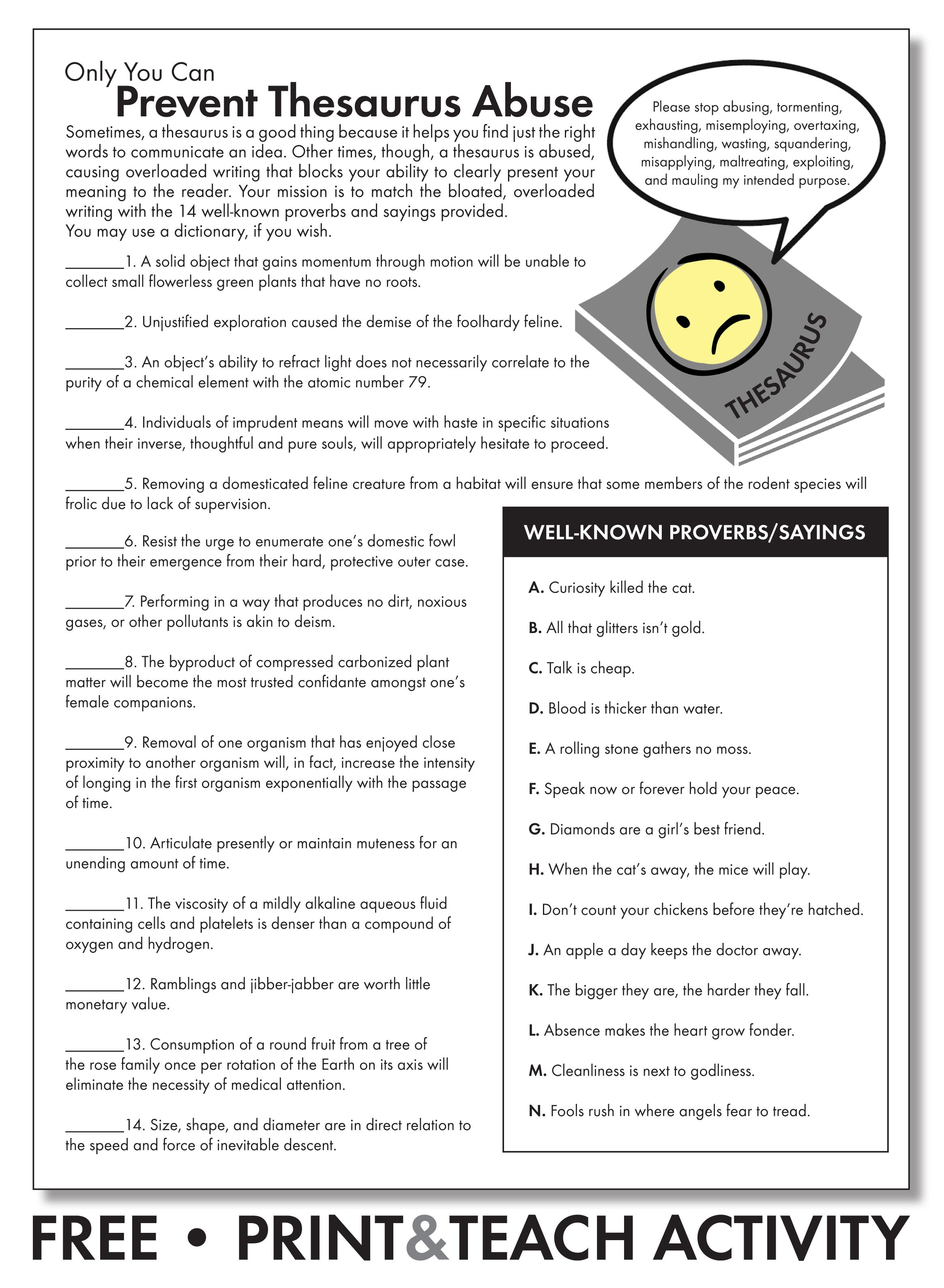 Free Worksheet To Emphasize Careful Word Choice Grades 7 12