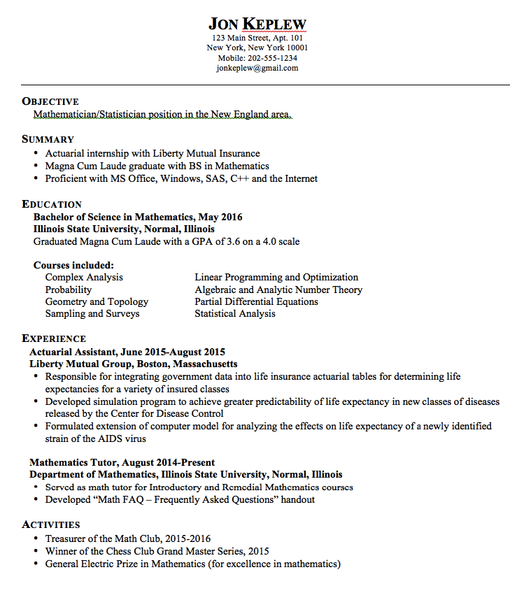 statistician resume example - Sample Actuary Resume