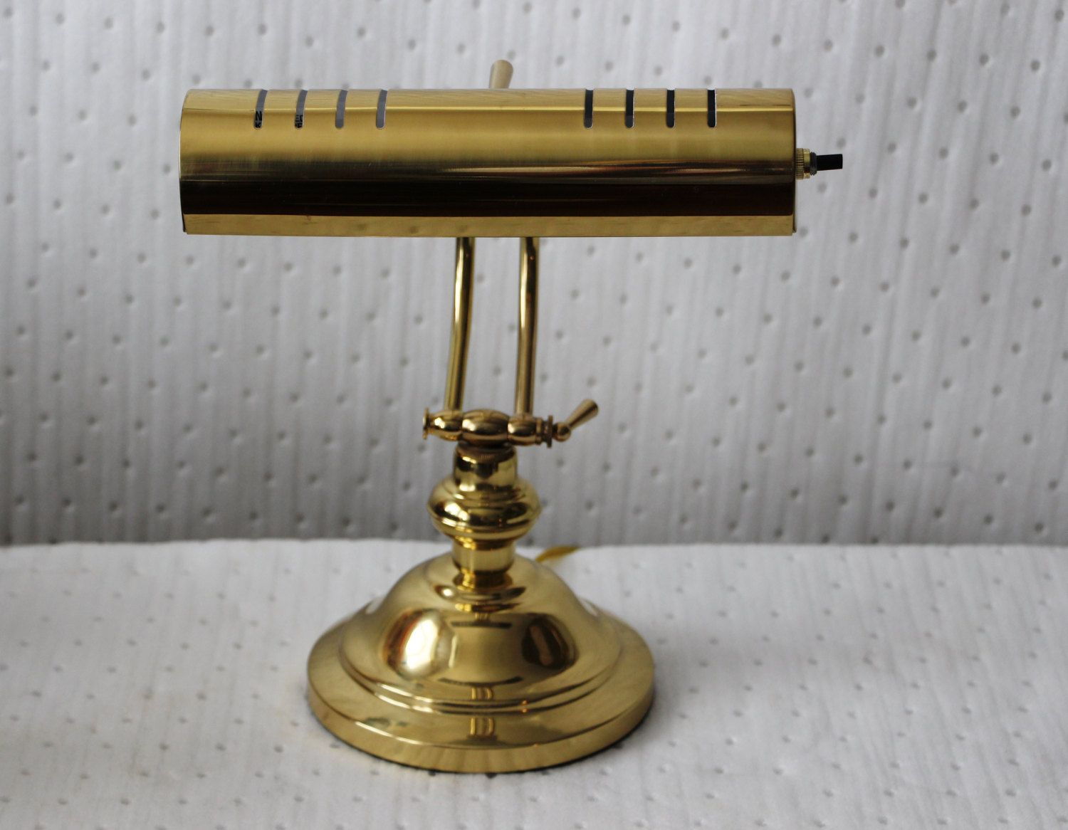 Vintage Brass Adjustable Electric Table Lamp, Piano Lamp