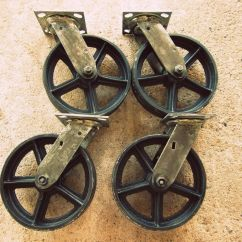 Antique Desk Chair Wheels Sport Brella Recliner Reviews Reproduction Cast Iron Casters Vintage Swiveling 8 Inch