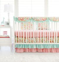 Sweet Pink & Aqua Paisley Baby Girl Bedding. The adorable ...
