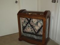Amish made oak and glass enclosed quilt rack blanket ...