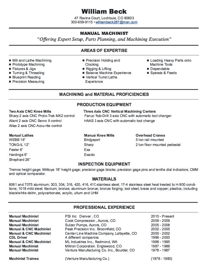 New CNC Machinist Resume Samples Resumesdesign Com New