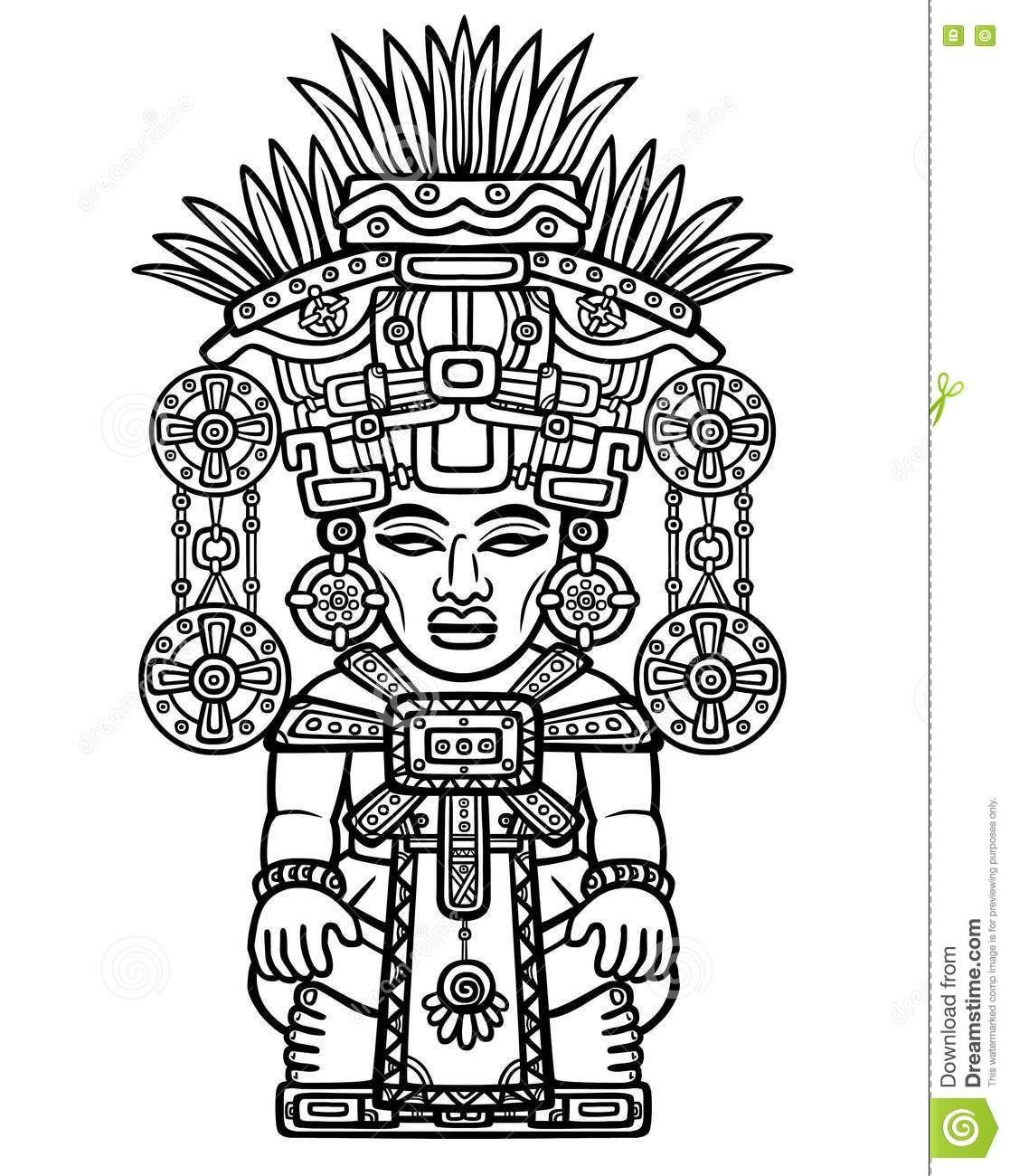 Dibujo Linear Imagen Decorativa De Una Deidad India