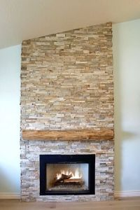 Dry Stacked Stone Fireplace with Raw Edge Cypress Mantel