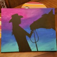 acrylic painting, cowgirl, horse, easy, paint night | my ...