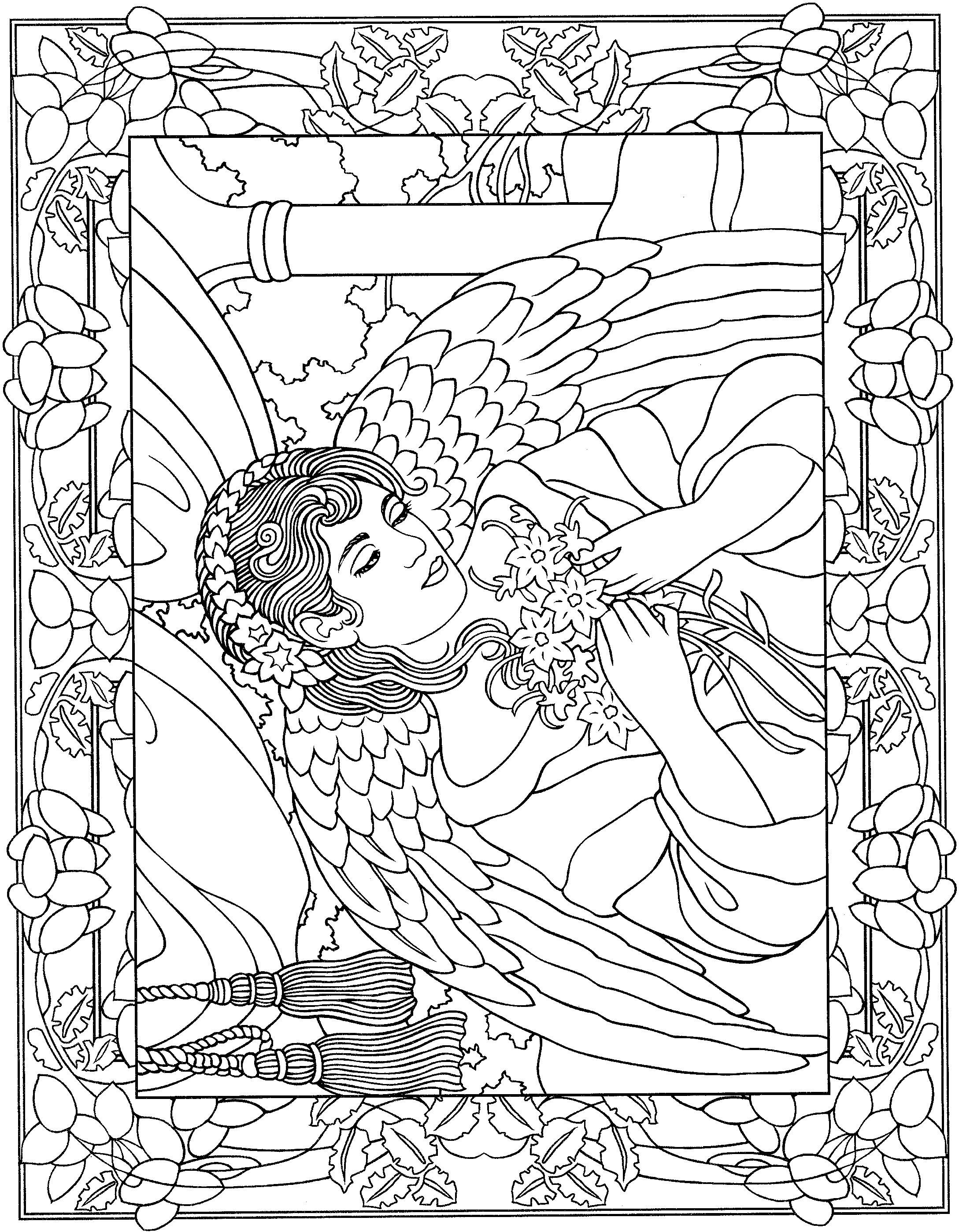 Adult Fantasy Angel Coloring Page
