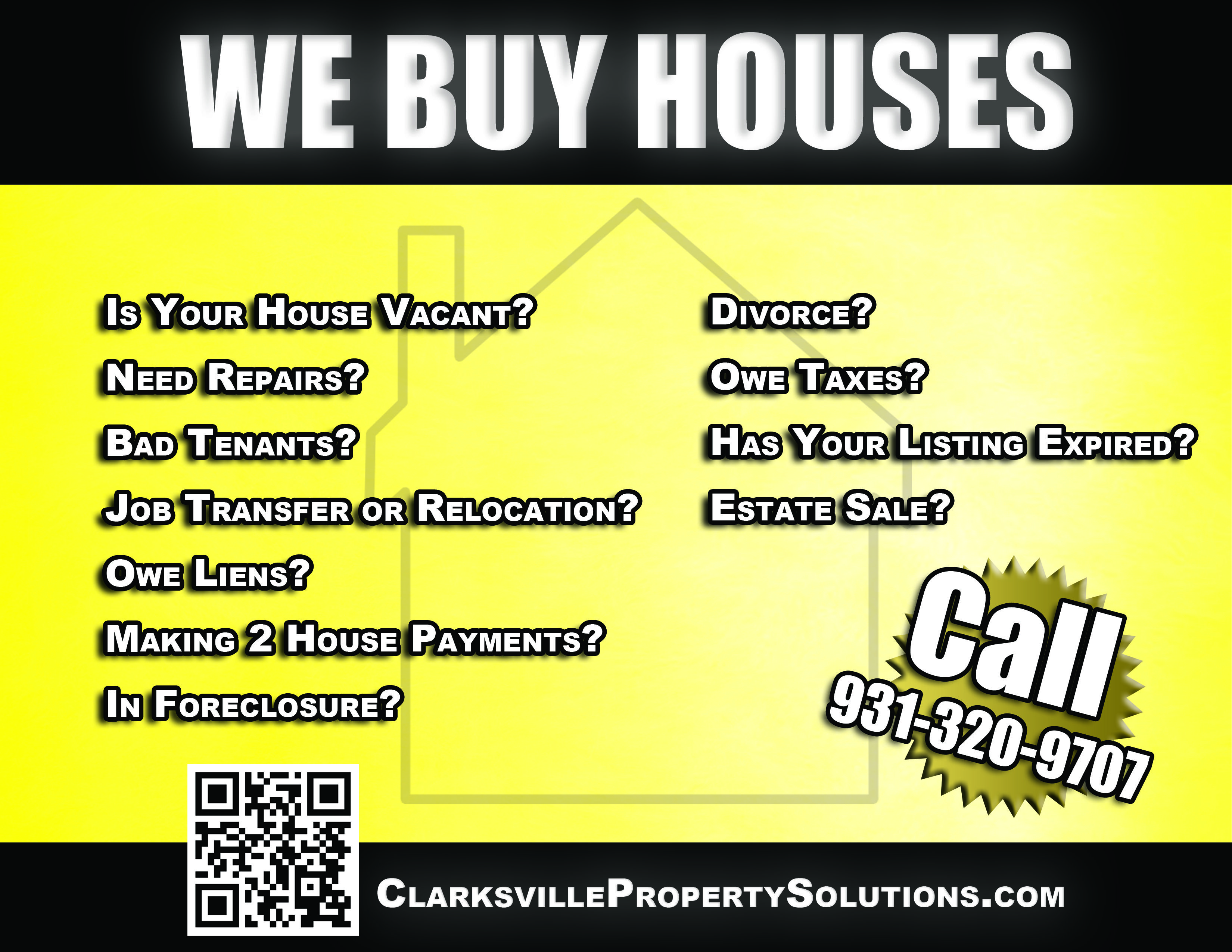 We Buy Houses Advertisement Clarksville Property Solutions LLC