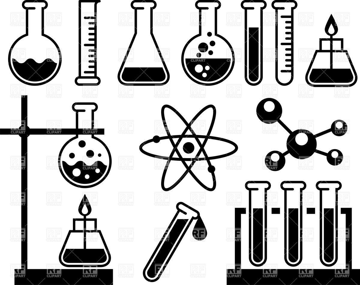 scientific experiment apparatus clip art black and white