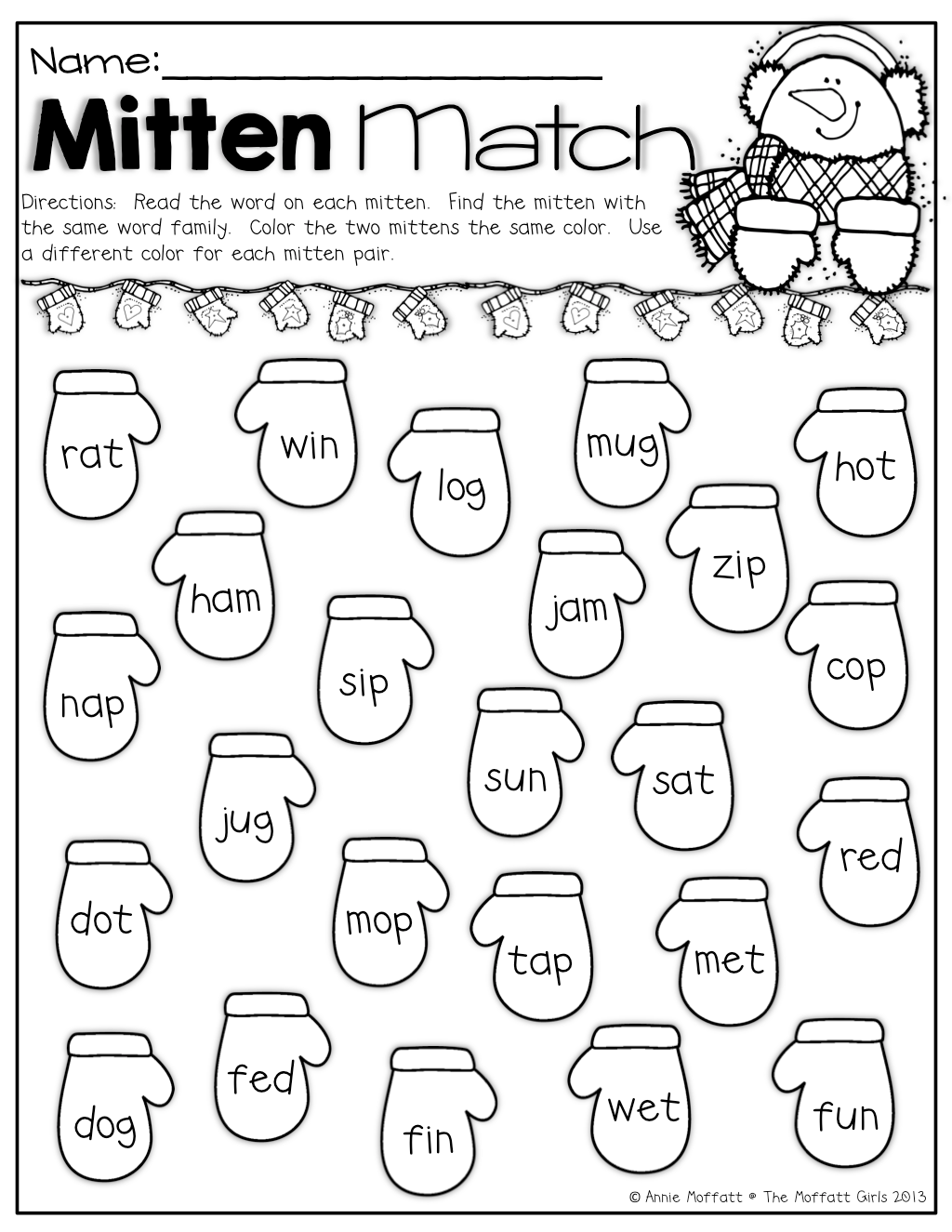 Mitten Match! Color the pair of mittens that have the same