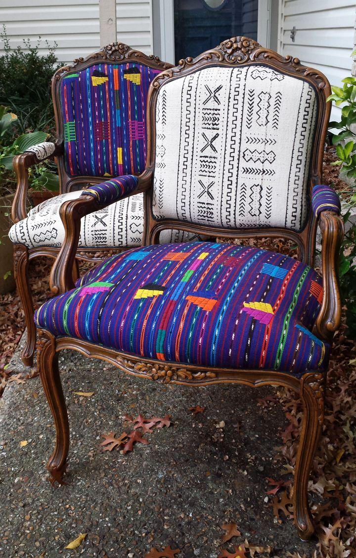 mudclothchairsredone  Home Decor  Pinterest  Chair