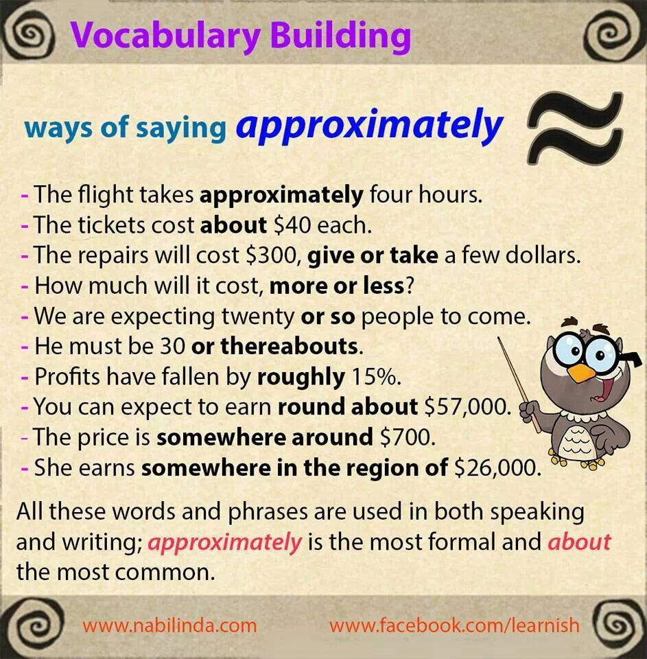 .Synonyms for APPROXIMATELY (for advanced learners)   Entrance Exams   Pinterest   English. Vocabulary building and Learning english