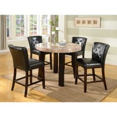 Round Marble Table And Chairs Outdoor For Sporting Events 5 Pc Contemprory Faux Counter Height Dining