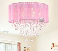 Pink Drum Shade Crystal Ceiling Chandelier Pendant Light ...