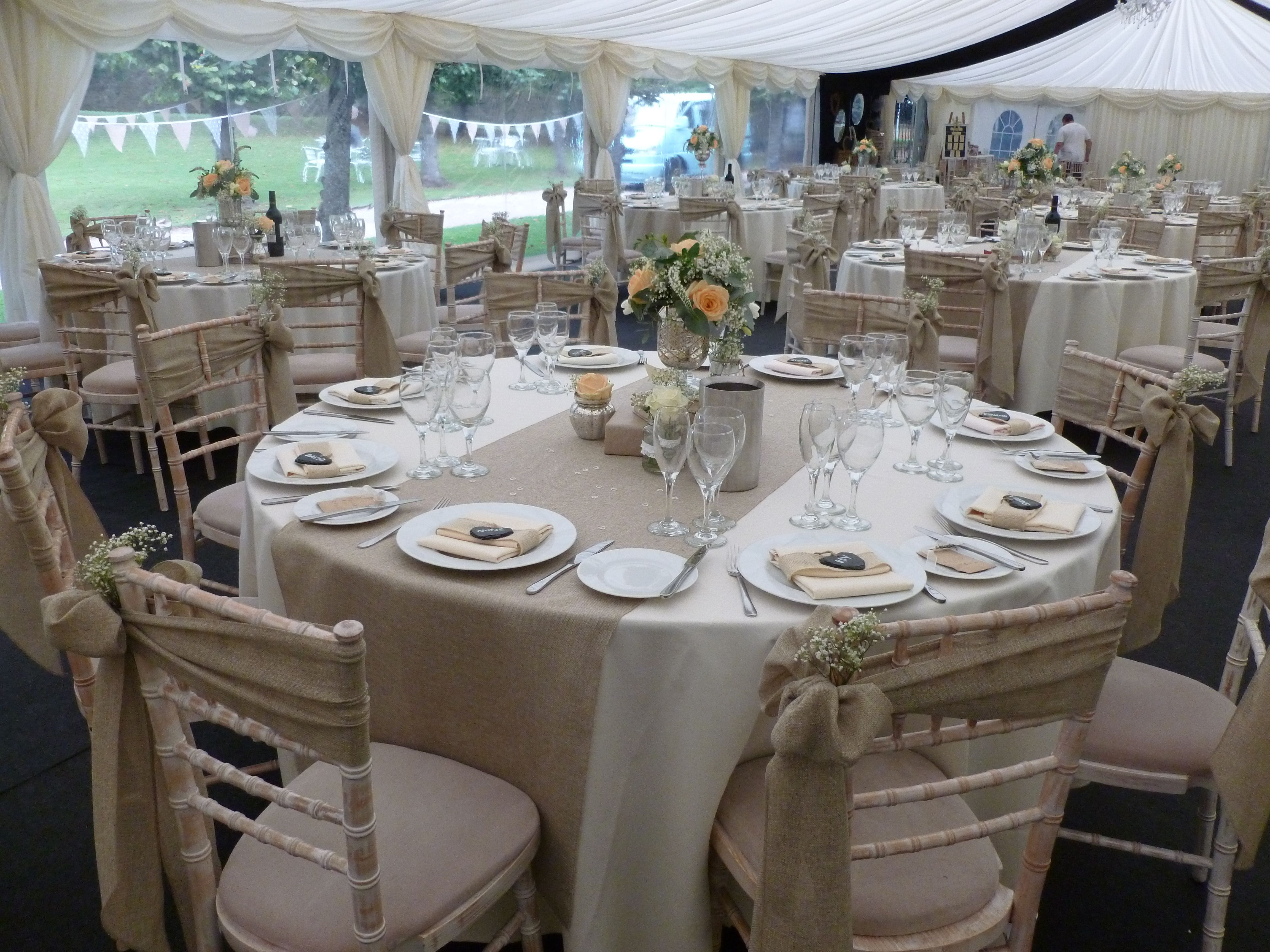 burlap chair covers wedding desk no arms sashes and table runners dressed on chiavari chairs