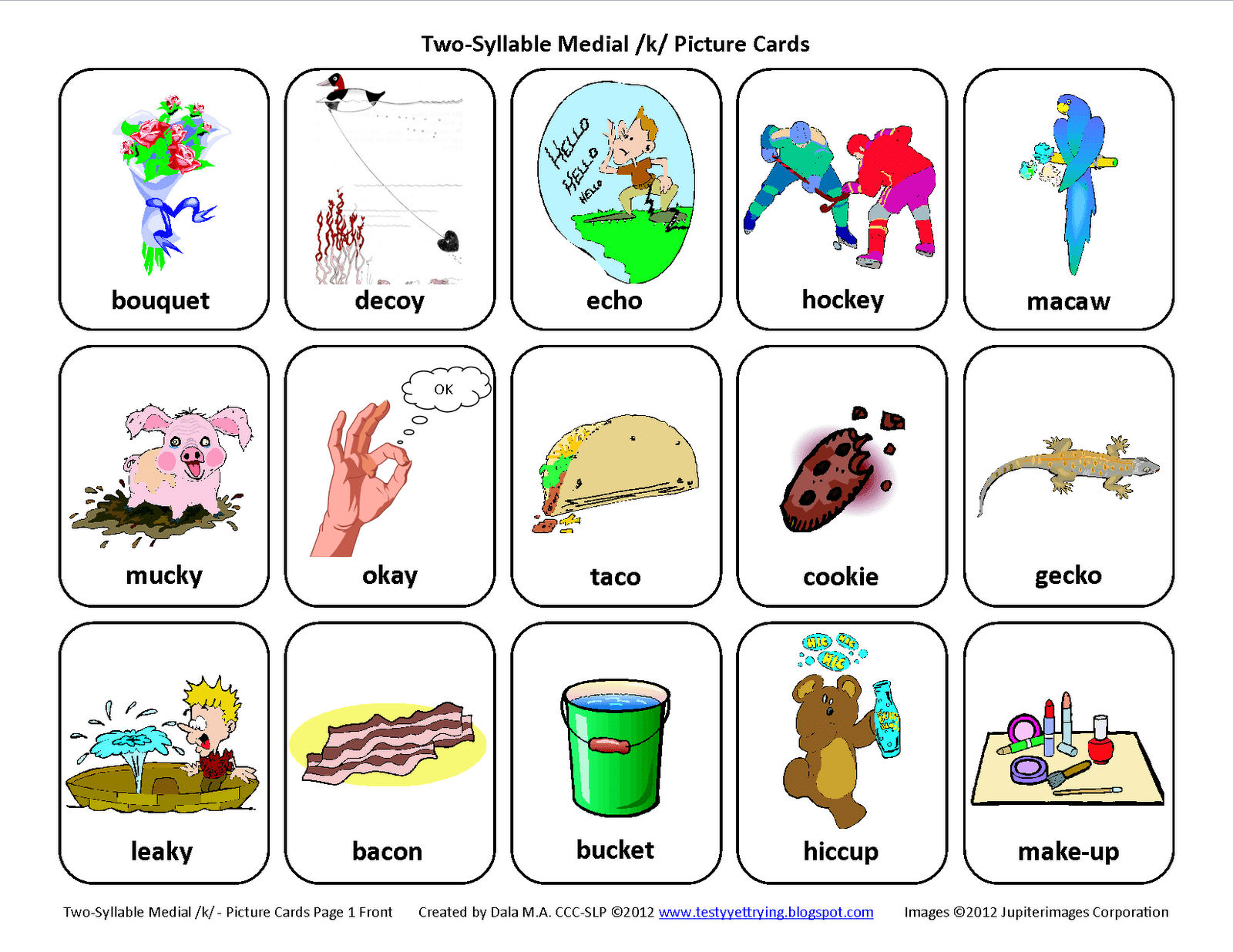 Medial K Free Speech Therapy Articulation Picture Cards