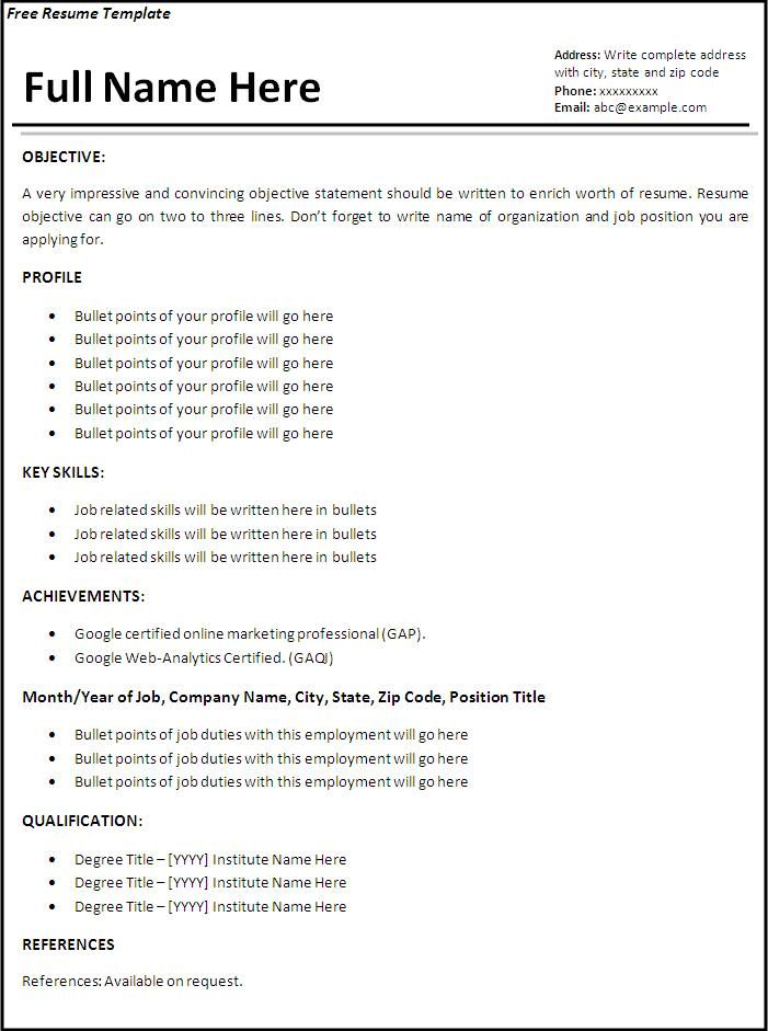 Resume Template   Outstanding Downloadable Templates Word